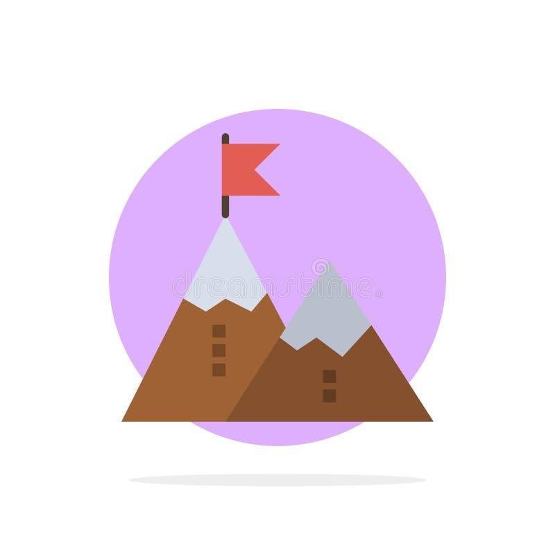 Successo, risultato, bandiera, scopo, missione, montagna, picco, icona piana di colore del fondo astratto del cerchio illustrazione di stock