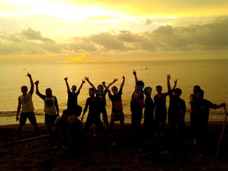 Successo Team Work Silhouette fotografie stock libere da diritti