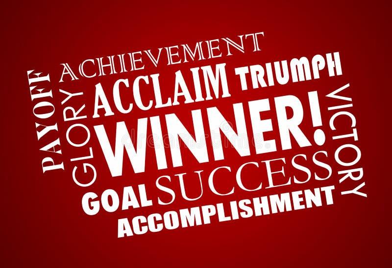 Successo Victory Word Collage raggiunta scopo del vincitore royalty illustrazione gratis