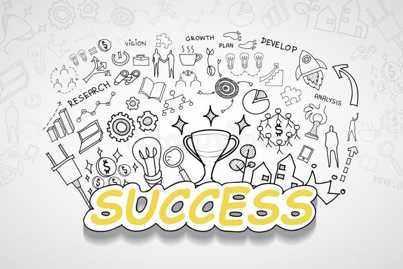Succestekst, met creatief tekeningsgrafieken en grafieken het planidee van de bedrijfssuccesstrategie, het moderne ontwerp van he royalty-vrije illustratie