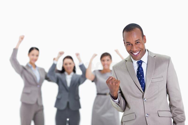 Succesvol commercieel team met een mens in de voorgrond stock fotografie