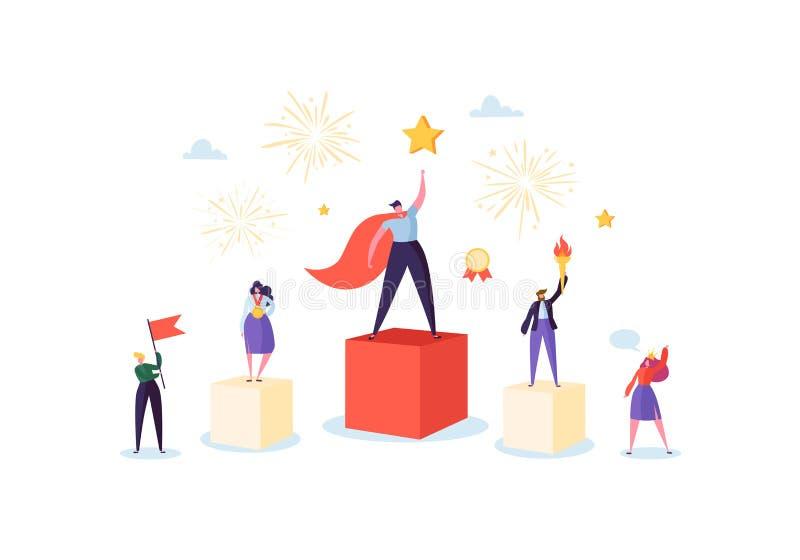 Succesvol Commercieel Team op Podium Het Concept van de groepswerkleiding Manager met Winnende Trofee Leider Man en Vrouw stock illustratie