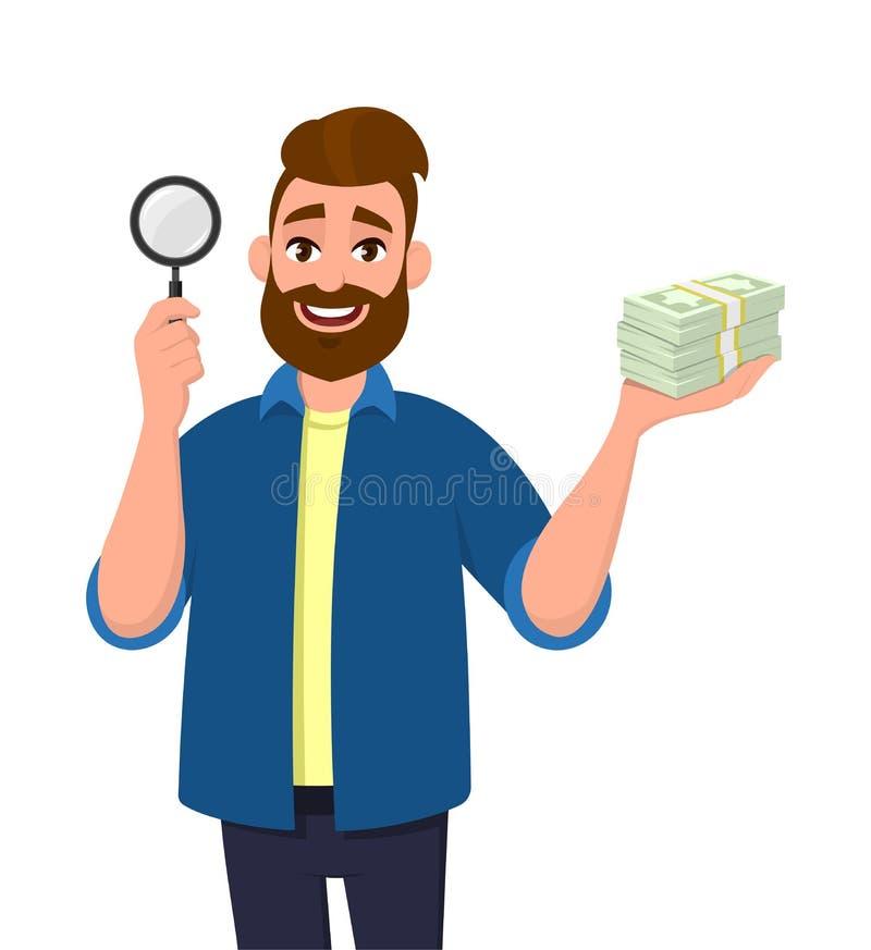Succesvol gebaard het jonge van de mensen ter beschikking tonen/holding vergrootglas en contant geld, geld, muntnota's Het Zoeken royalty-vrije illustratie