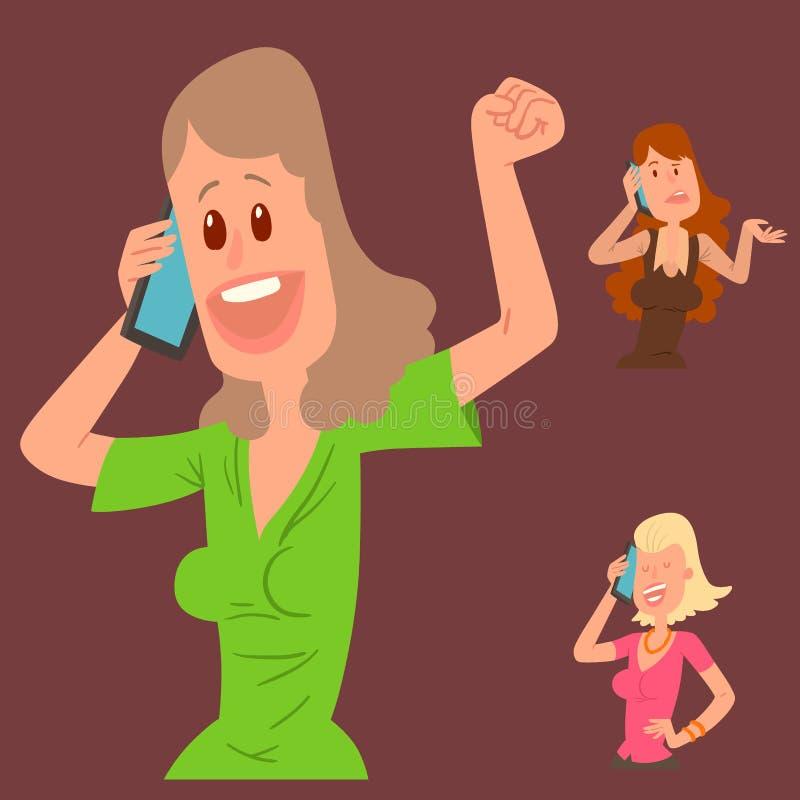 Succesvol jong meisjeskarakter die zijn vectorillustratie van de celtelefoon spreken stock illustratie