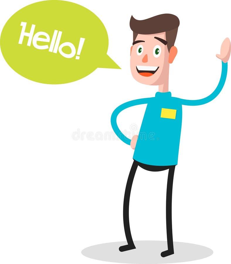 Succesvol jong zakenmankarakter die hello met toespraakbel zeggen, vooraanzicht Zaken, professionele baan, vector illustratie