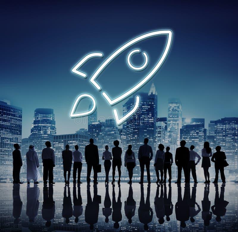 Succesvol Nieuw het Begin Grafisch Concept van de innovatielancering stock afbeelding