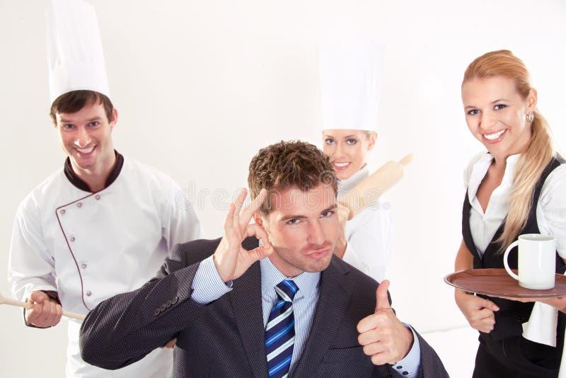 Succesvol restaurantpersoneel stock fotografie