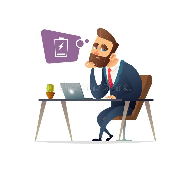 Succesvol uitgeput het karaktergevoel van de baardzakenman Vermoeide managerzitting op werkende plaats met computer in bureau Zak stock illustratie