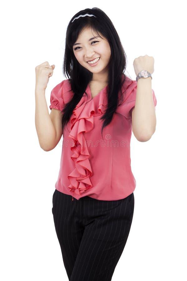 Download Succesvol viert haar winst stock afbeelding. Afbeelding bestaande uit meisje - 39116673