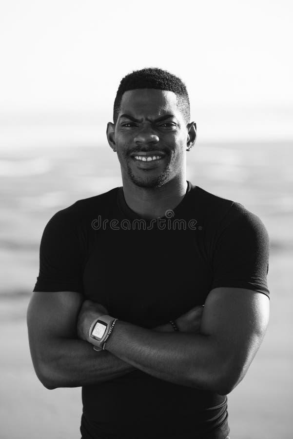 Succesvol zwart atletenportret royalty-vrije stock fotografie