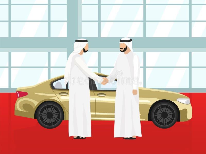 Succesvolle aankoop van een gouden auto door een Arabische mens vector illustratie