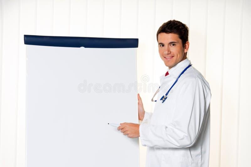 Succesvolle arts met een tikgrafiek voor royalty-vrije stock foto's