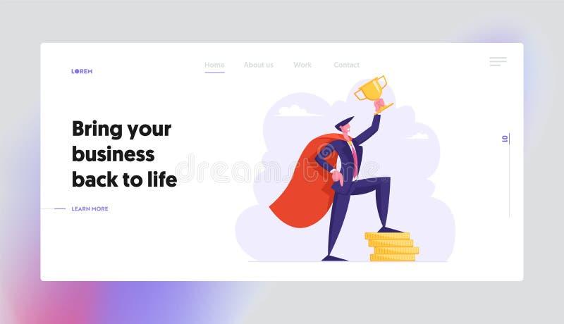 Succesvolle Bedrijfsmens in de Super Tribune van de de Greep Gouden Kop van de Heldenkaap op Stapel van Gouden Muntstukken, Finan vector illustratie