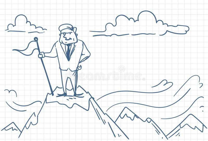 Succesvolle Bedrijfsmens die Vlag op Berg Hoogste Krabbel zetten vector illustratie