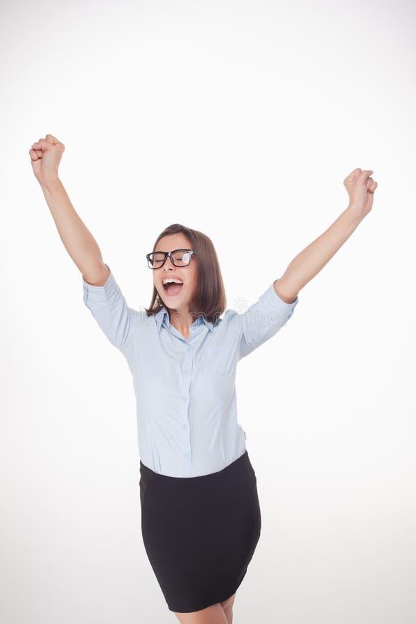 Succesvolle bedrijfsvrouw op witte achtergrond stock afbeelding