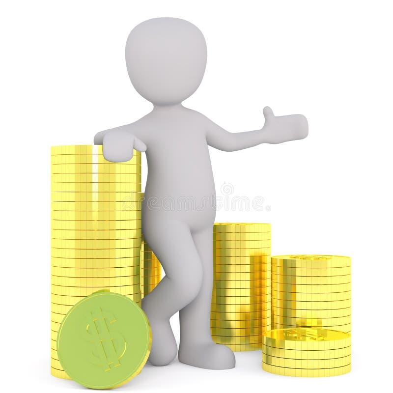 Succesvolle 3d zakenman met gestapelde gouden muntstukken stock illustratie