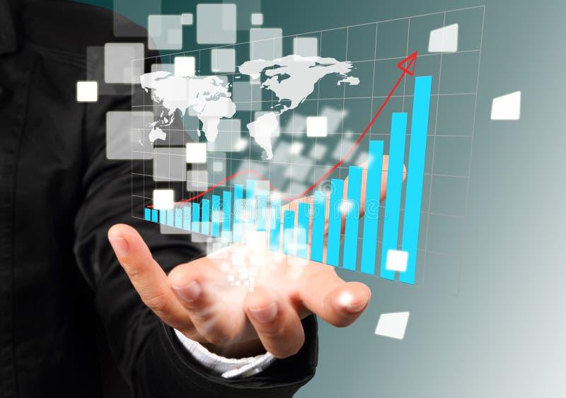 Succesvolle de grafiek van de de holdingsillustratie van de hand. royalty-vrije stock fotografie