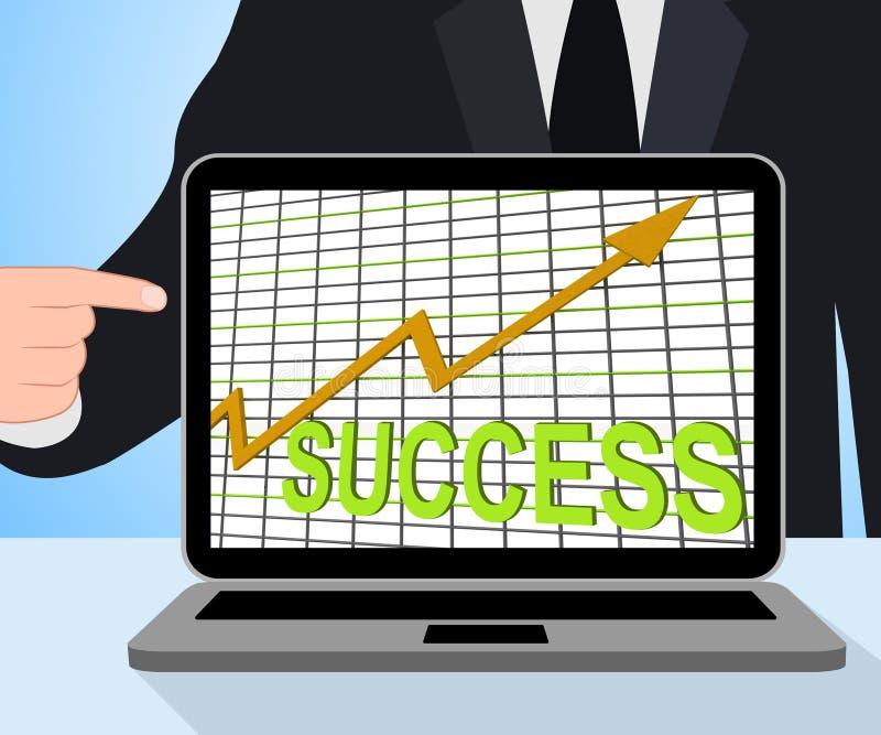 Of Succesvolle de Grafiekvertoningen die van de succesgrafiek winnen stock illustratie