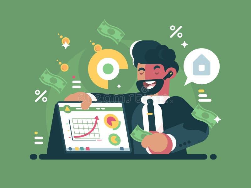 Succesvolle en rijke handelaar stock illustratie