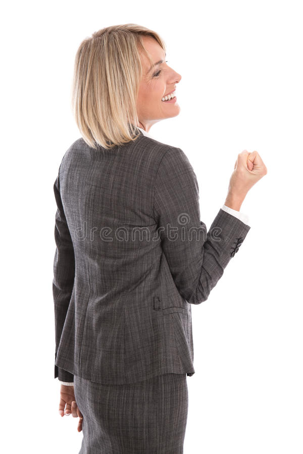 Succesvolle en trotse geïsoleerde onderneemster die haar succ vieren stock afbeelding