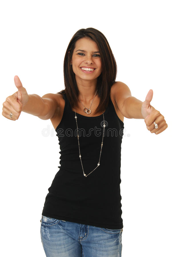 Succesvolle gelukkige vrouw royalty-vrije stock fotografie