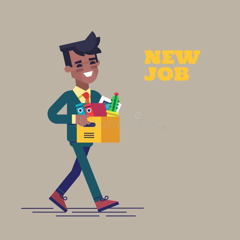 Succesvolle glimlachende jonge zwarte mens die naar de nieuwe baan met doos gaan Nieuwe baanillustratie in vlak ontwerp royalty-vrije illustratie