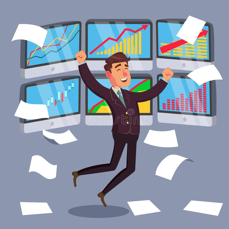 Succesvolle Handelaar Vector Het Diagram van de Effectenbeursgrafiek Stijgende Grafieken Gegevensanalyses Geïsoleerd op Wit Beeld vector illustratie