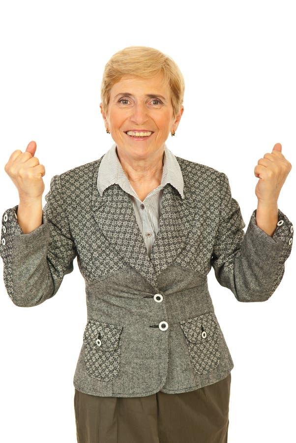 Succesvolle hogere bedrijfsvrouw stock afbeelding