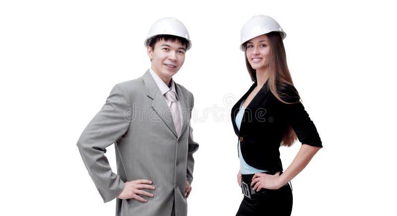 Succesvolle jonge architect twee Geïsoleerd op wit royalty-vrije stock foto