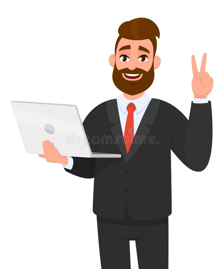 Succesvolle jonge bedrijfs/een recentste gloednieuwe laptop computer tonen en mens die, maken, die V, overwinning, vrede tonen do royalty-vrije illustratie