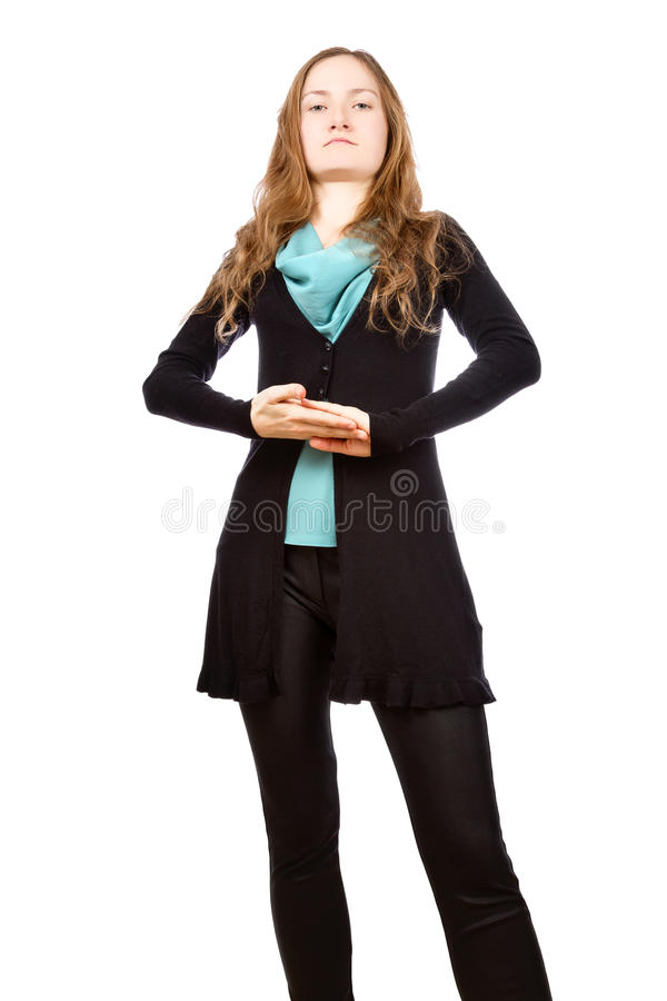 Succesvolle jonge vrouw met arrogante blik stock foto