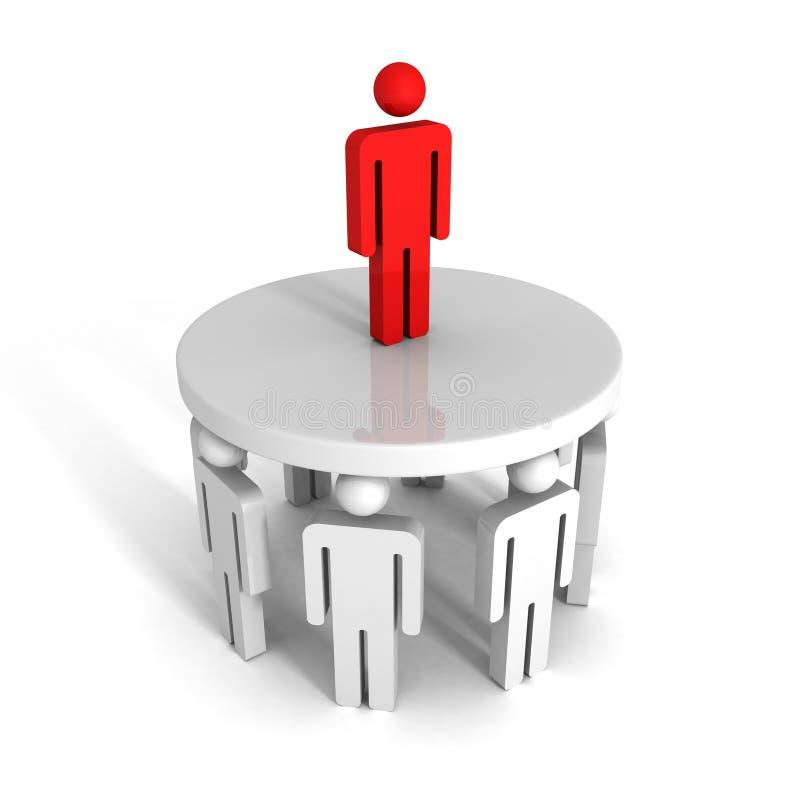 Succesvolle leider van team op bovenkant bedrijfssuccesachivement royalty-vrije illustratie