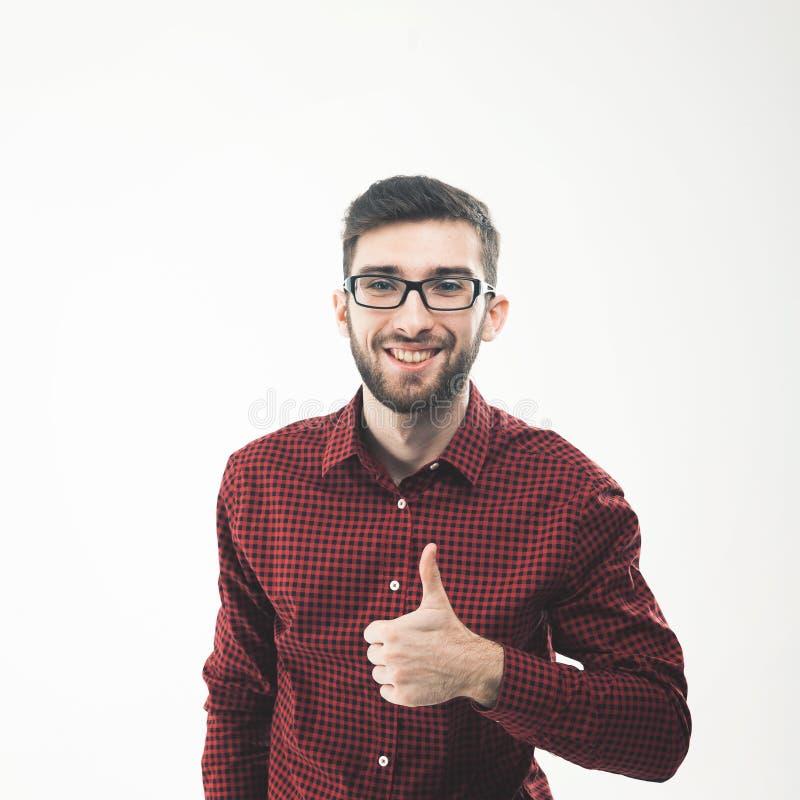 Succesvolle Manager die een duim van het handgebaar omhoog maken royalty-vrije stock afbeelding