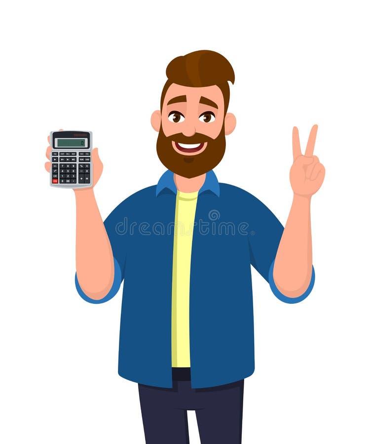 Succesvolle mens die of digitaal calculatorapparaat in hand tonen houden en, die overwinning, V, vrede of teken twee maken gestur royalty-vrije illustratie