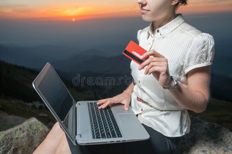 Succesvolle onderneemster bovenop berg, die laptop met behulp van stock foto