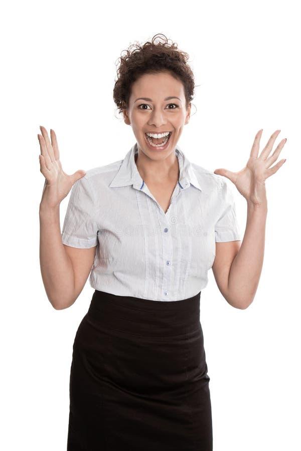 Succesvolle onderneemster die - die voor vreugde springen op witte bedelaars wordt geïsoleerd stock afbeeldingen