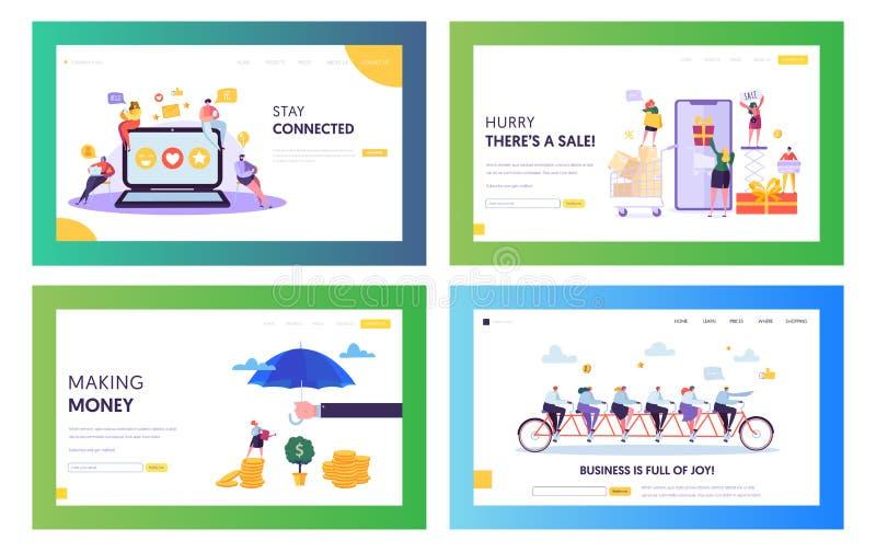 Succesvolle Online Zaken Team Concept Landing Page Set De mensen die en maken Verkoop bij Online Opslag Mobiele Toepassing babbel stock illustratie