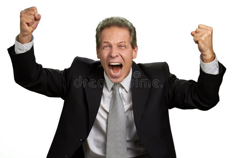 Succesvolle opgewekte zakenman die zijn vuisten opheffen stock foto's