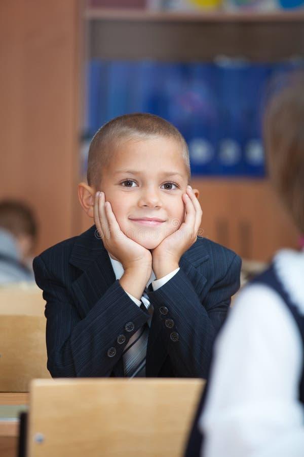 Succesvolle schooljongen stock afbeelding