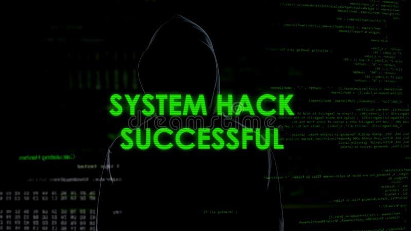 Succesvolle systeemhouwer, code brekende verrichting, programmeur gebarsten wachtwoord royalty-vrije stock foto's
