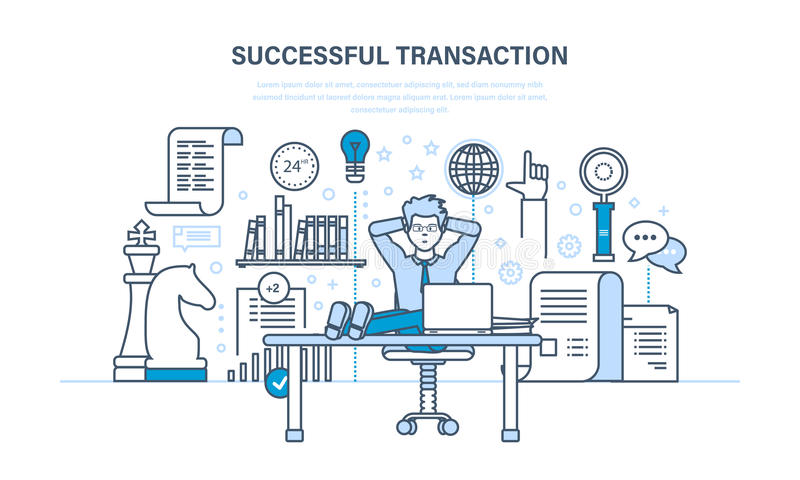 Succesvolle transactie, besloten contracten, transacties, bedrijfsstrategie, plannend, werkmethoden royalty-vrije illustratie