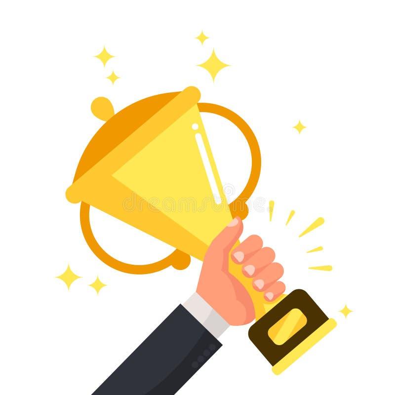 Succesvolle winnaar die gouden kop in hand houden Prijs voor het winnen van de concurrentie, succes vectorillustratie stock illustratie