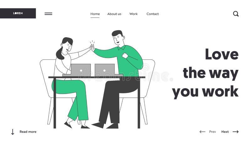 Succesvolle zakelijke deal, contract ondertekenende website-portaalpagina Collega's zitten op bureau en geven elkaar de hoogste v royalty-vrije illustratie