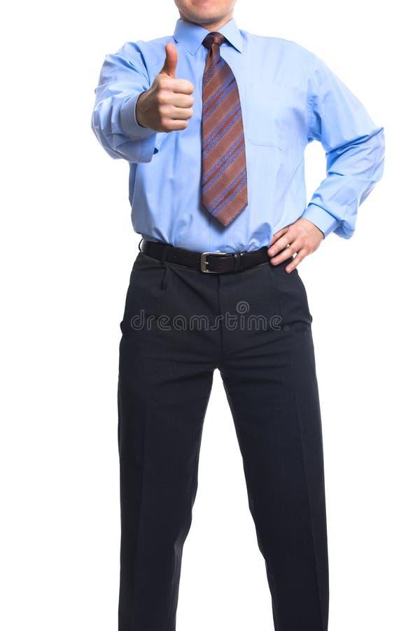 Succesvolle zakenman die duim toont stock fotografie
