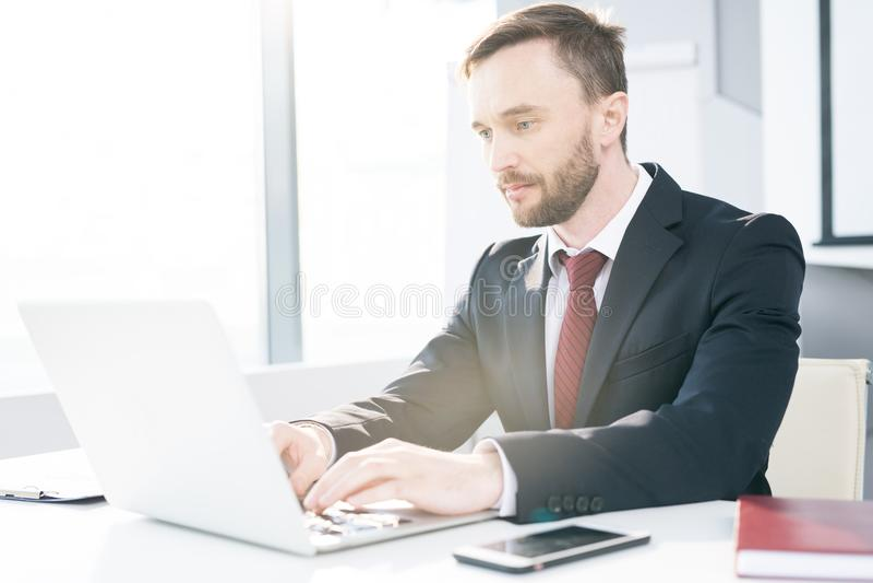 Succesvolle zakenman die laptop met behulp van stock foto
