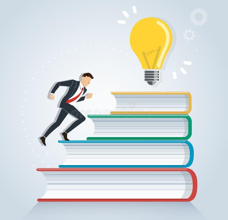 Succesvolle zakenman die op het ontwerp vectorillustratie van het boekenpictogram lopen, onderwijsconcepten royalty-vrije illustratie