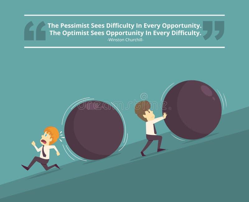 Succesvolle zakenman en niet succesvolle Zakenman Beeldverhaal van B stock illustratie