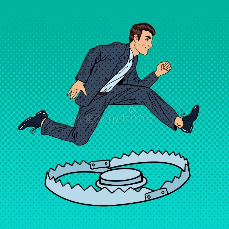 Succesvolle Zakenman Jumping Over de Val Pop-art stock illustratie