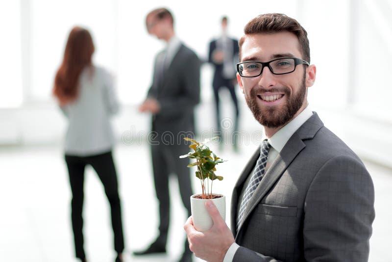 Succesvolle zakenman met een groene jonge spruit op vage achtergrond royalty-vrije stock foto's