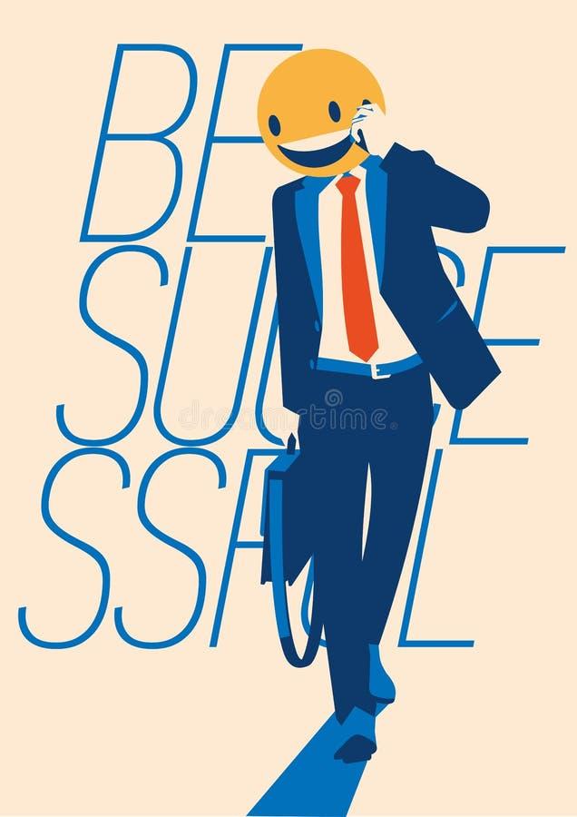 Succesvolle zakenman met een smileygezicht in plaats van zijn hoofd vector illustratie